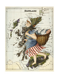 Map Of Scotland As a Woman Carrying a Basket Of Fish. Giclee Print by Lilian Lancaster