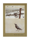 The Old Country Mansion - a Crow With a Large Country House in the Snow Giclee Print by Cecil Aldin