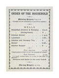 Order Of the Household Giclee Print by Isabella Beeton