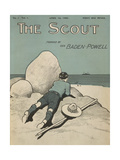 Colour Illustrated Cover Showing a Boy Scout Watching a Ship On the Horizon - Giclee Baskı
