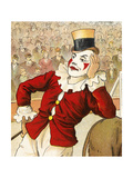 A Clown Leaning On the Back Of a Donkey Giclee Print