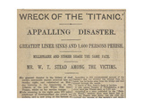 Wreck Of the Titanic Appaling Disaster'. Headline From a Newspaper Giclee Print