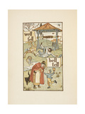 Rhyming Words Ending in the Letter L. a Boy With a Bell. an Old Woman and Her Cat Giclee Print by Walter Crane