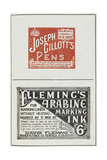 Advertisements For Ink and Writing Pens Giclee Print by Isabella Beeton