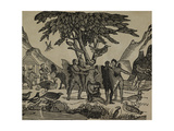 Humanoid Figues With Wings and Fur. Giclee Print
