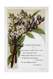 New Year Greetings Card With Floral Decoration and Poem by G. Herbert Giclee Print by W. Dickes