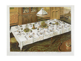 Dinner Table, With Floral Decorations, Arranged For 12 Persons. Giclee Print by Isabella Beeton