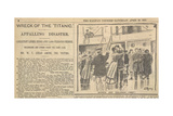 Wreck Of the Titanic' . 'Women and Children First'. Newspaper Report Giclee Print