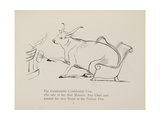 Cow in Armchair Toasting Bread On Open Fire From a Collection Of Poems and Songs by Edward Lear Giclee Print by Edward Lear