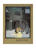 They Went Round the House Playing Under the Windows - Carol Singers in the Snow Giclee Print by Cecil Aldin