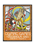 The March Of the Nations, Each Athlete Waving a Flag. Sweden 1912 Olympic Games Poster Stamp Reproduction procédé giclée