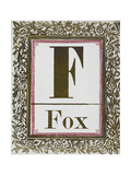 Letter F: Fox. Gold Letter With Decorative Border Giclee Print
