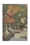 A Blonde Haired Women With Geese Giclee Print by Jessie Willcox-Smith