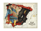 Map Of Spain and Portugal Represented As a Matador and Bull Reproduction procédé giclée par Lilian Lancaster