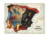 Mapa de España y Portugal Represented As a Matador y Bull Lámina giclée por Lilian Lancaster