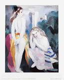 Two Young Girls in a Landscape Samlartryck av Marie Laurencin