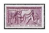 Atlas Offering the Apples Of Hesperides To Hercules. Greece 1906 Olympic Games 20 Lepta, Unused Wydruk giclee
