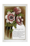 New Year Greetings Card With Floral Decoration and Poem by R. N. Milnes Giclee Print by W. Dickes