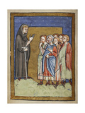 Miniature Of Cuthbert Preaching To Gathered People From the Village Giclee Print by  Bede