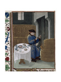 Winter Scene Indoors, a Man Seated Before a Fire, and a Table Laid With a Meal Giclee Print by Petrus de Crescentiis
