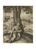 The Wizard and Sage, Merlin, Sitting Under a Tree. Giclee Print by Thomas Heywood