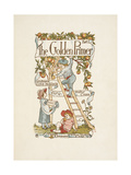 Title Page For the Golden Primer. a Child Is On a Ladder, Picking Apples From a Tree. Giclee Print by Walter Crane
