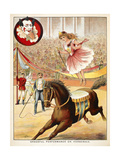 Graceful Performance On Horseback'. a Woman Performer With a Horse in a Circus Ring Giclee Print