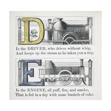 Letters D and E: Driver and Engine Illustrations Giclee Print