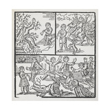 Woodcut Illustration Depicting Various Scenes Of Merriment. Giclee Print by Thomas Bewick