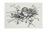 Shrunken Alice After Eating Some Of the Caterpillar's Mushroom Gicleetryck av Arthur Rackham