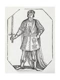 Engraving Of a King Wearing a Crown and Robe and Carrying a Sword Giclee Print by Thomas Bewick