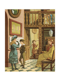 Musee De Cluny. Children With Their Mother Visiting a Museum. Colour Illustration From 'Abroad'. Giclee Print by Ellen Houghton