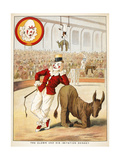 The Clown and His Imitation Donkey'. a Clown in the Circus Ring. Various Acts Involving Animals Giclee Print