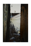 Man Walking Along Roof Of Building With Shawl Being Hung Out To Dry Between Buildings in Foreground Giclee Print by Fay Godwin