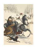 The Woman, Clarita, Taking a Sleigh Ride With a Wealthy Prince. Giclee Print by D. Planas