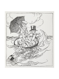 Three Men in a Bowl On the Sea Giclee Print by Arthur Rackham