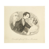 Illustration Depicting a Man Whose Moustache Wax Has Rubbed Off Onto His Wife After Kissing Giclee Print