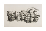 A Row Of Seven Heads Of Classical Heroes and Heroines From the Stories Of Homer. Giclee Print by HW Tischbein