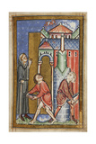Miniature Of Cuthbert Extinguishing a Fire Set by a Demon Giclee Print by  Bede