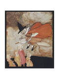 Old Mother Goose, Flying Over Some Children in a Red Cape and Black Hat Giclee Print by Arthur Rackham