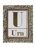 Letter U: Urn. Gold Letter With Decorative Border Giclee Print