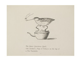 Quail Perched On Teapot, Smoking a Pipe From a Collection Of Poems and Songs by Edward Lear Impressão giclée por Edward Lear
