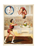 Acrobatic Performance'. Acrobats and a Clown Performing in the Circus Ring Giclee Print