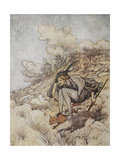 Illustration From the Golden Bird. a Prince Riding On a Fox Giclee Print by Arthur Rackham