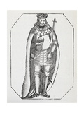 Engraving Of a King Holding a Sceptre and Orb and Wearing a Crown and Robe Giclee Print by Thomas Bewick