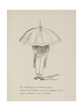 Man Holding Umbrella From a Collection Of Poems and Songs by Edward Lear Giclee Print by Edward Lear