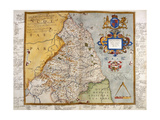 Map Of Northumberland Giclee Print