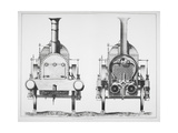 Front Elevation and Cross-section Of a Locomotive Engine Giclee Print by James Basire the Younger