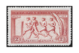 A Group Of Athletes Running, Greece 1906 Olympic Games, 2 Drachma, Unused Stamp Design Giclee Print