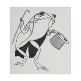 A Frog Wearing Top Hat and Tails, Carrying a Cane Giclee Print by Arthur Rackham